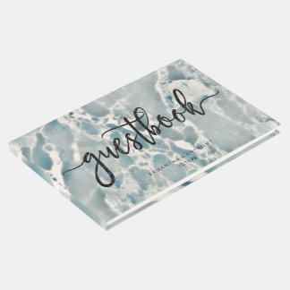 Beach Sea Glass Ocean Blues Aqua Wedding Monogram Guest Book