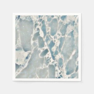 Beach Sea Glass Ocean Blues Teal & Aqua Marble Paper Napkin