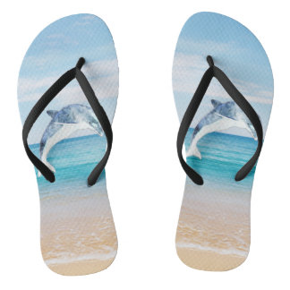Beach,Sea,Sand,Dolphin Flip Flops
