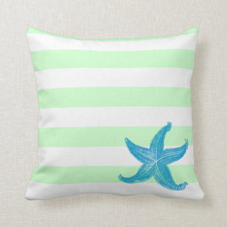 Beach Seafoam Green and White Striped Starfish Throw Pillow