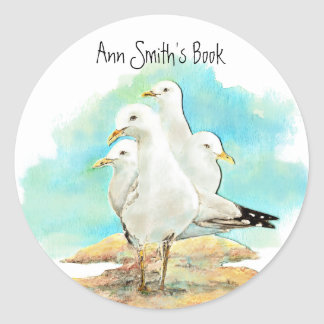 Beach & Seagull Book Plate to Customize Classic Round Sticker