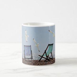 Beach Seagulls and Deckchairs Coffee Mug