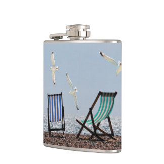 Beach Seagulls and Deckchairs Hip Flask