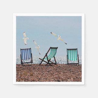 Beach Seagulls and Deckchairs Paper Napkin