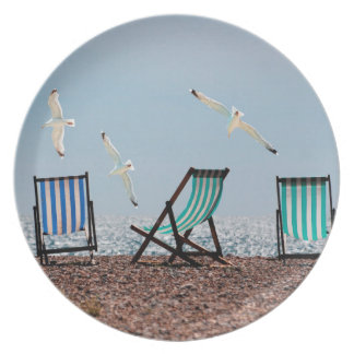 Beach Seagulls and Deckchairs Party Plates