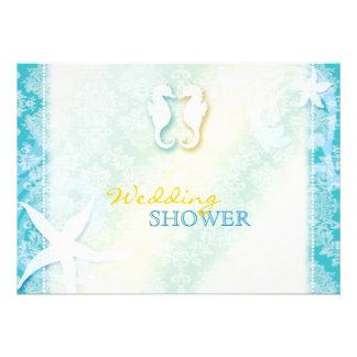 Beach SeaHorse Summer Wedding Couple Shower Invite