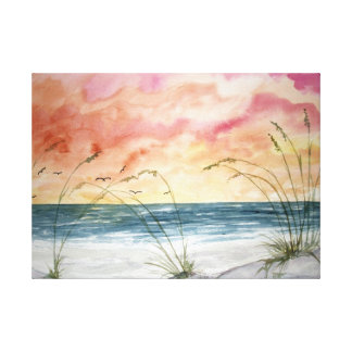 beach seascape watercolor painting canvas print