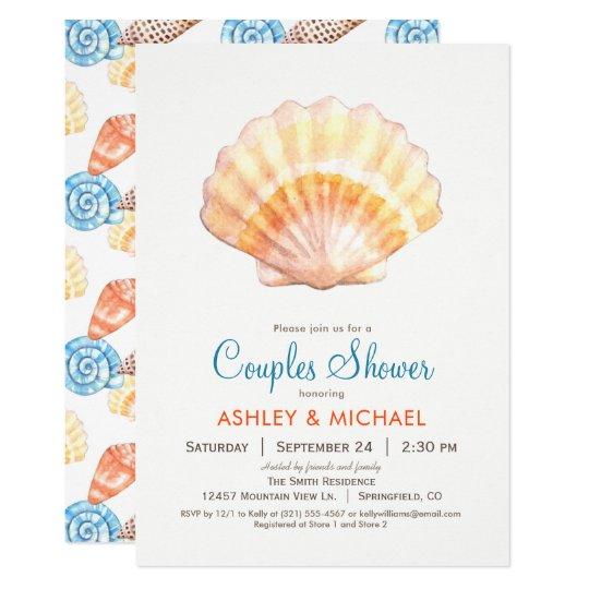 Beach Seashell Couples Shower Invitation