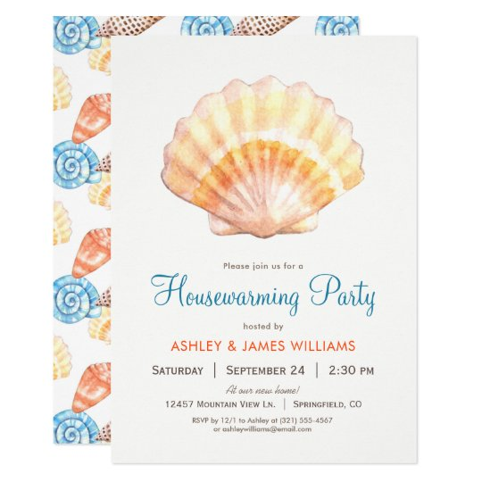 Beach Seashell Housewarming Party Invitation