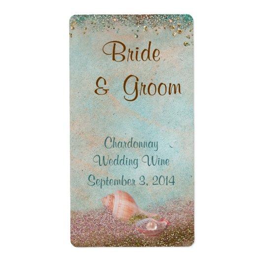 Beach Seashells and Glitter Wedding Wine