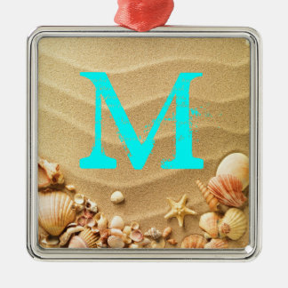 Beach Seashells Hawaii Monogram Initial Ornament