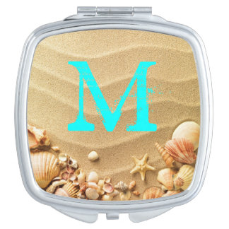 Beach Seashells Sand Hawai Monogram Compact Mirror