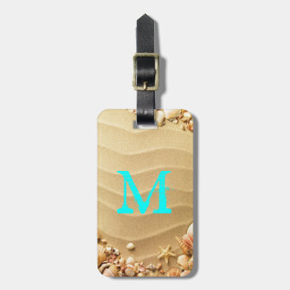 Beach Seashells Sand Hawaii Monogram Luggage Tag