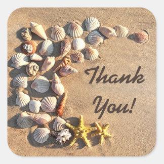 beach seashells starfish thank you stickers