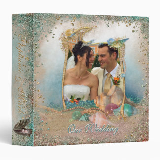 Beach Seashells Wedding Album YOUR Photo Binder