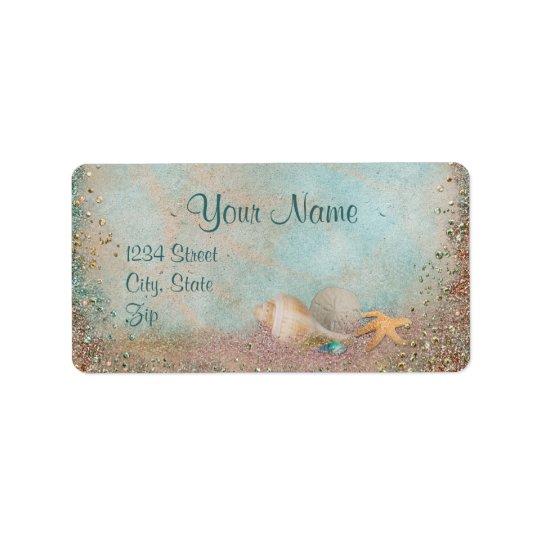 Beach Seashells Wedding Label