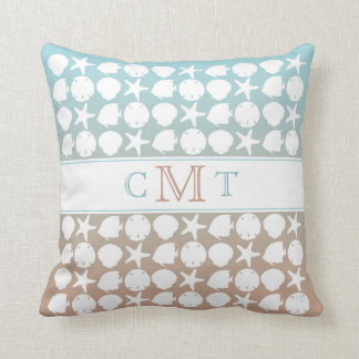 Beach Seaside Gradient Color Monogram Throw Pillow