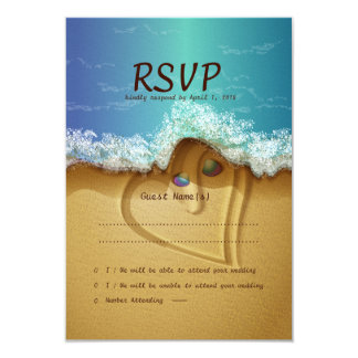 Beach  Shell Couple  RSVP Wedding Card