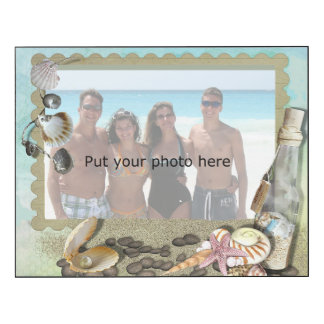 Beach, shells, sand and bottle frame - Add Photo