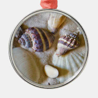 Beach Shells Theme #2 Silver-Colored Round Ornament