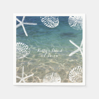 Beach Shore Starfish & Seashells Tropical Wedding Disposable Napkin