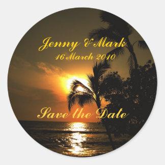 Beach Shoreline Wedding Classic Round Sticker