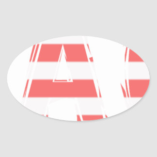 Beach Sign - stripes Oval Sticker