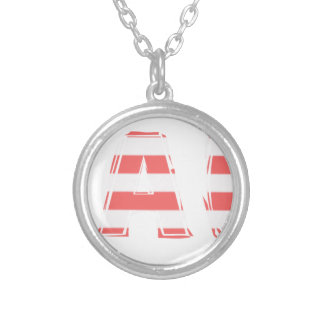 Beach Sign - stripes Silver Plated Necklace