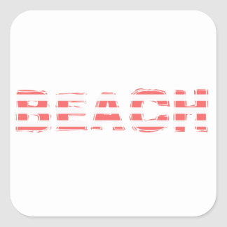 Beach Sign - stripes Square Sticker