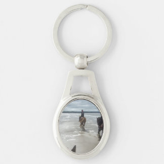 beach Silver-Colored oval keychain
