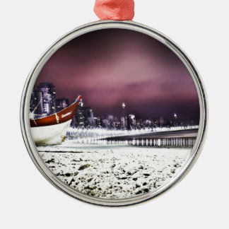 Beach Silver-Colored Round Ornament