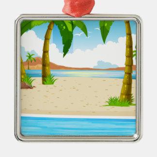 Beach Silver-Colored Square Ornament