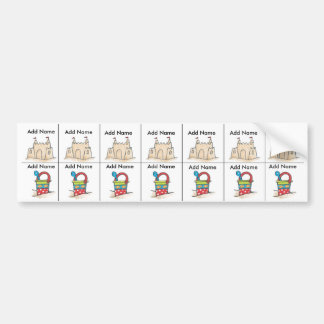 Beach Sippy Cup Labels Bumper Sticker