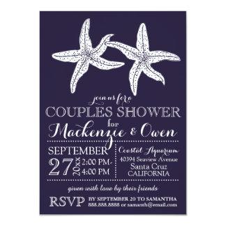 "Beach Starfish Couples Wedding Bridal Shower 4.5"" X 6.25"" Invitation Card"