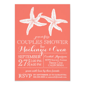 Beach Starfish Couples Wedding Bridal Shower 4.5x6.25 Paper Invitation Card
