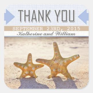 beach starfish pretty thank you stickers