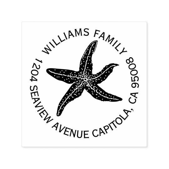 Beach Starfish Return Address Self-inking Stamp