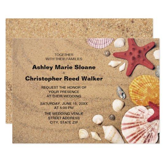 Beach, Starfish, Seashells Wedding Invitation