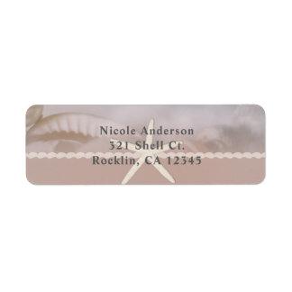 Beach Starfish Taupe Tan Chic Elegant Invitation Return Address Label