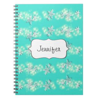 Beach starfish turquoise white notebook