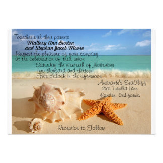 Beach Starfish Wedding Invitiation Customize!! Personalized Announcement