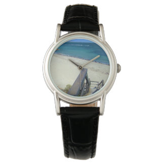 Beach Steps To Golden Sands, Ladies Leather Watch
