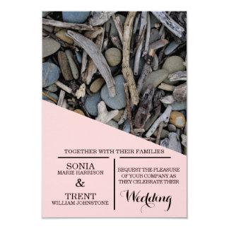 Beach Stones Driftwood Wedding Card
