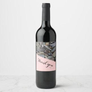 Beach Stones Driftwood Wedding Wine Label