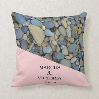 Beach Stones Pebbles Wedding Throw Pillow
