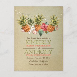 beach string lights pineapple save the date announcement postcard