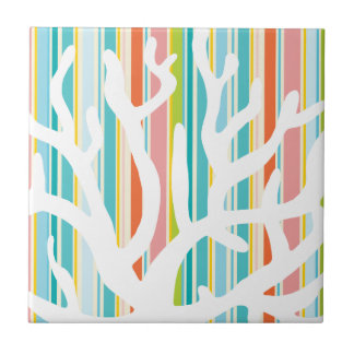 Beach Stripes and Coral Ceramic Tile