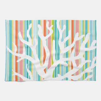 Beach Stripes and Coral Kitchen Towel