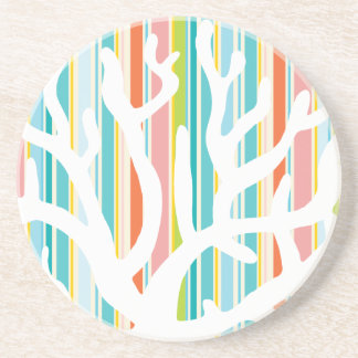 Beach Stripes and Coral Sandstone Drink Coaster