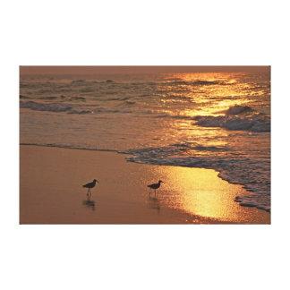 Beach Stroll at Sunrise Canvas Print